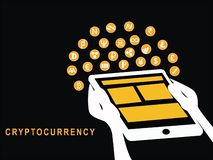 Tablet with cryptocurrency stock illustration
