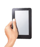 Hand holding a tablet pc stock photos