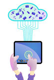 Hand holding tablet PC Stock Images