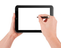 Hand holding a tablet pc computer. With blank screen isolated on white background Stock Photos
