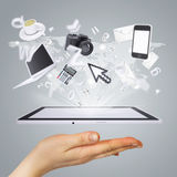 Hand holding tablet pc. Concept electronics Royalty Free Stock Image