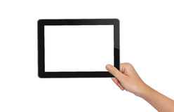 Hand holding tablet pc Stock Photo