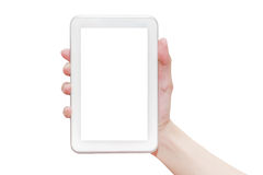 Hand holding tablet pc Royalty Free Stock Image