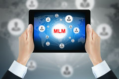 Hand holding tablet pc with MLM (Multi Level Marketing) sign Royalty Free Stock Images