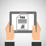 Hand holding tablet taxes graphics growth Stock Image