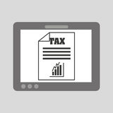 Hand holding tablet taxes graphics growth Royalty Free Stock Photography