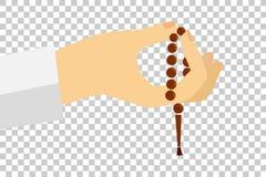 Hand - Holding Tasbih (islam prayer beads) Stock Photos
