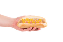 Hand holding tasty hot dog. Stock Images