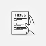 Hand holding tax form. Line icon. Vector minimal taxation concept symbol or logo element Stock Photo