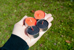 Hand Holding Tealights Royalty Free Stock Photos