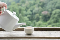 Hand holding teapot and pouring white tea into cup with green na. Woman& x27;s hand holding teapot and pouring white tea into cup with green nature mountain Royalty Free Stock Photography