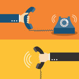 Hand holding telephone. Vector illustration Stock Illustration