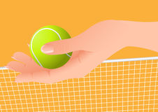 Hand holding tennis ball Royalty Free Stock Images