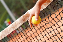 Hand holding tennis ball Royalty Free Stock Photo