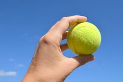 Hand holding tennis ball on blue sky background. Stock Images