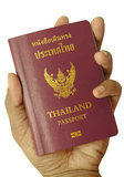 Hand holding Thailand passport Royalty Free Stock Images