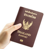 Hand holding an Thailand passport Stock Image