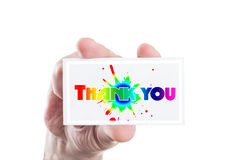 Hand holding thank you note Royalty Free Stock Photography