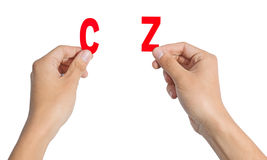 Hand Holding The Letter Stock Photos