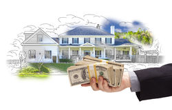 Hand Holding Thousands In Cash Over House Drawing and Photo Stock Photos