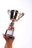 A hand holding a throphy Royalty Free Stock Photography