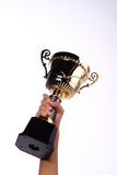 A hand holding a throphy Royalty Free Stock Photos