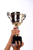 A hand holding a throphy Stock Photo