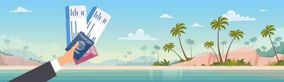 Hand Holding Ticket Boarding Pass Travel Document Seaside Vacation Sea Beach Background vector illustration