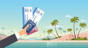 Hand Holding Ticket Boarding Pass Travel Document Seaside Vacation Sea Beach Background. Flat Vector Illustration Stock Photography
