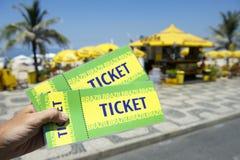 Hand Holding Tickets Ipanema Beach Rio Brazil Royalty Free Stock Images