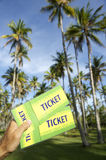 Hand Holding Tickets Palm Grove Brazil Royalty Free Stock Image