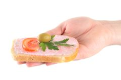 Hand holding toast with fish caviar cream Stock Photography