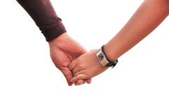 Hand holding together. The couple `s hand holding together Royalty Free Stock Images