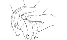 Hand holding hand together  Royalty Free Stock Photos