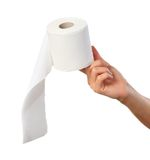 Hand holding toilet paper Stock Image