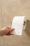 Hand holding toilet paper roll in holder Royalty Free Stock Photo