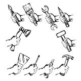 Hand holding tool  set vector Stock Photography
