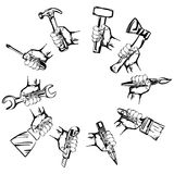 Hand holding tool  set vector Royalty Free Stock Images
