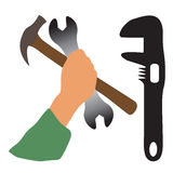 Hand holding tools. Illustration of hand holding tools design isolated on white background vector illustration