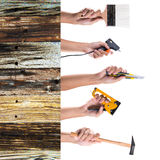 Hand holding tools Royalty Free Stock Images