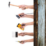 Hand holding tools Stock Photo