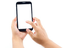 Hand holding and Touch on Black Smartphone with blank screen Royalty Free Stock Image