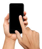 Hand holding and Touch on glossy Black Smartphone on white Stock Image