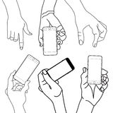 Hand holding Touch mobile smart phone stock illustration