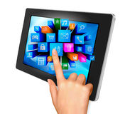 Hand holding touch pad pc Royalty Free Stock Image