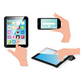 Hand holding touch pad pc. And finger touching it's screen with icons. Vector Royalty Free Stock Image