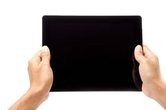 Hand holding touch screen Royalty Free Stock Image