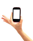 Hand holding a touch screen phone Royalty Free Stock Photo