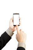 Hand holding and touch smart phone Royalty Free Stock Photo