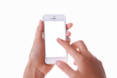 Hand holding and touching blank the screen of smart phone isolat Stock Photography
